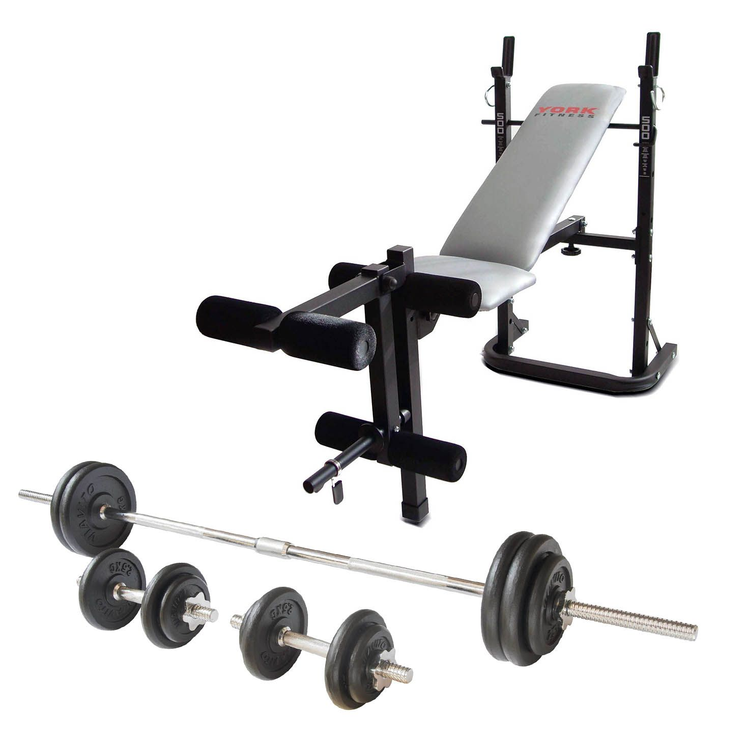 Cheapest Dumbbell Set: York B500 Weight Bench With Viavito 50kg Cast Iron Weight Set