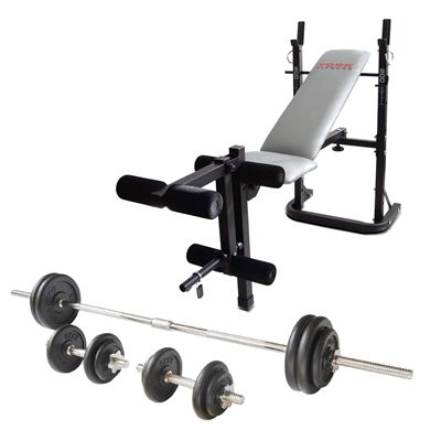 York B500 Weight Bench with 50kg Cast Iron Weight Set