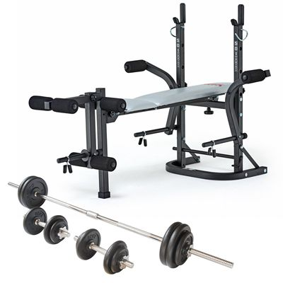York B501 Weight Bench and Viavito 50kg Cast Iron Weight Set - Folded