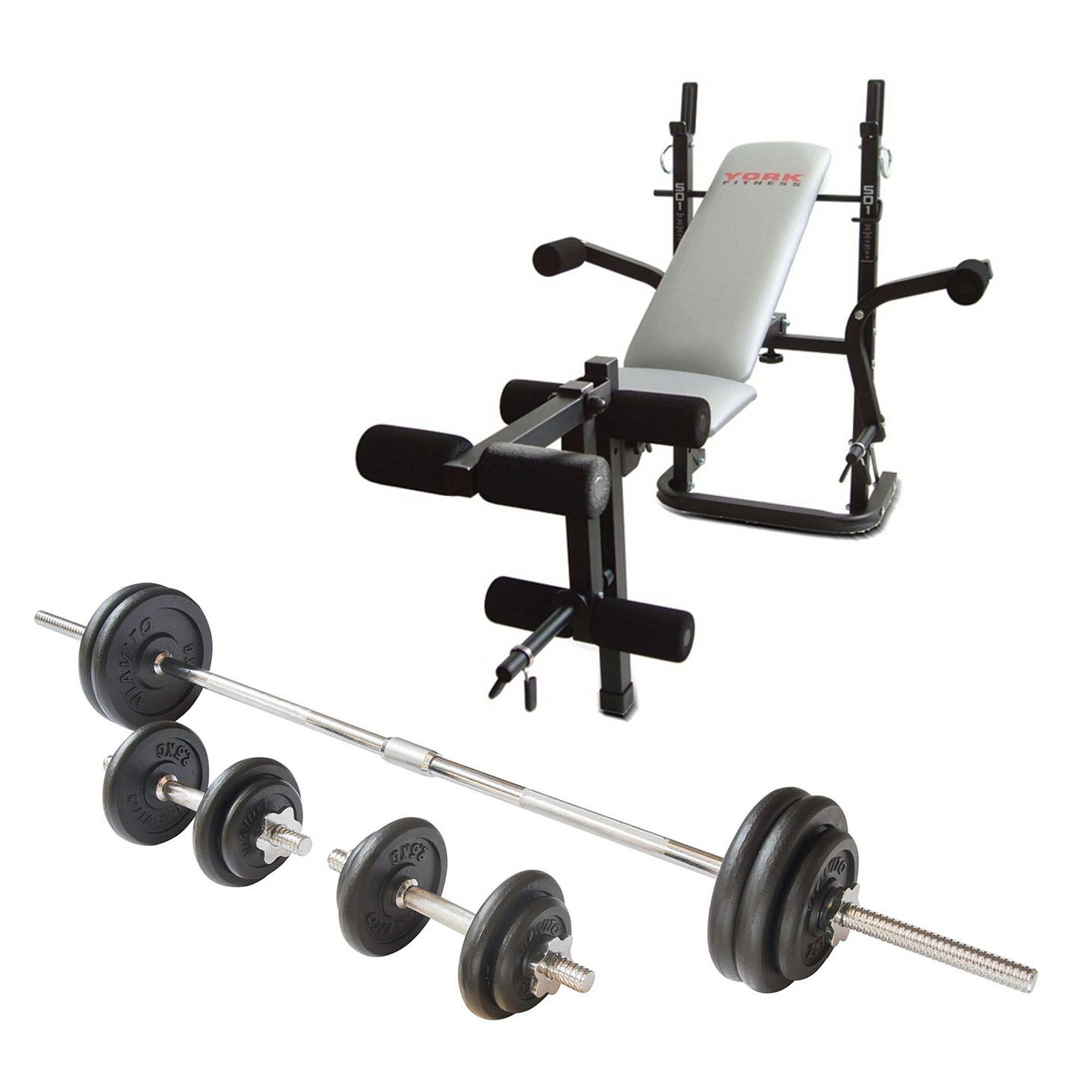 York b501 weight bench and viavito 50kg cast iron weight set Bench and weight set