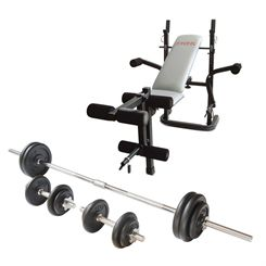 York B501 Weight Bench and Viavito 50kg Cast Iron Weight Set