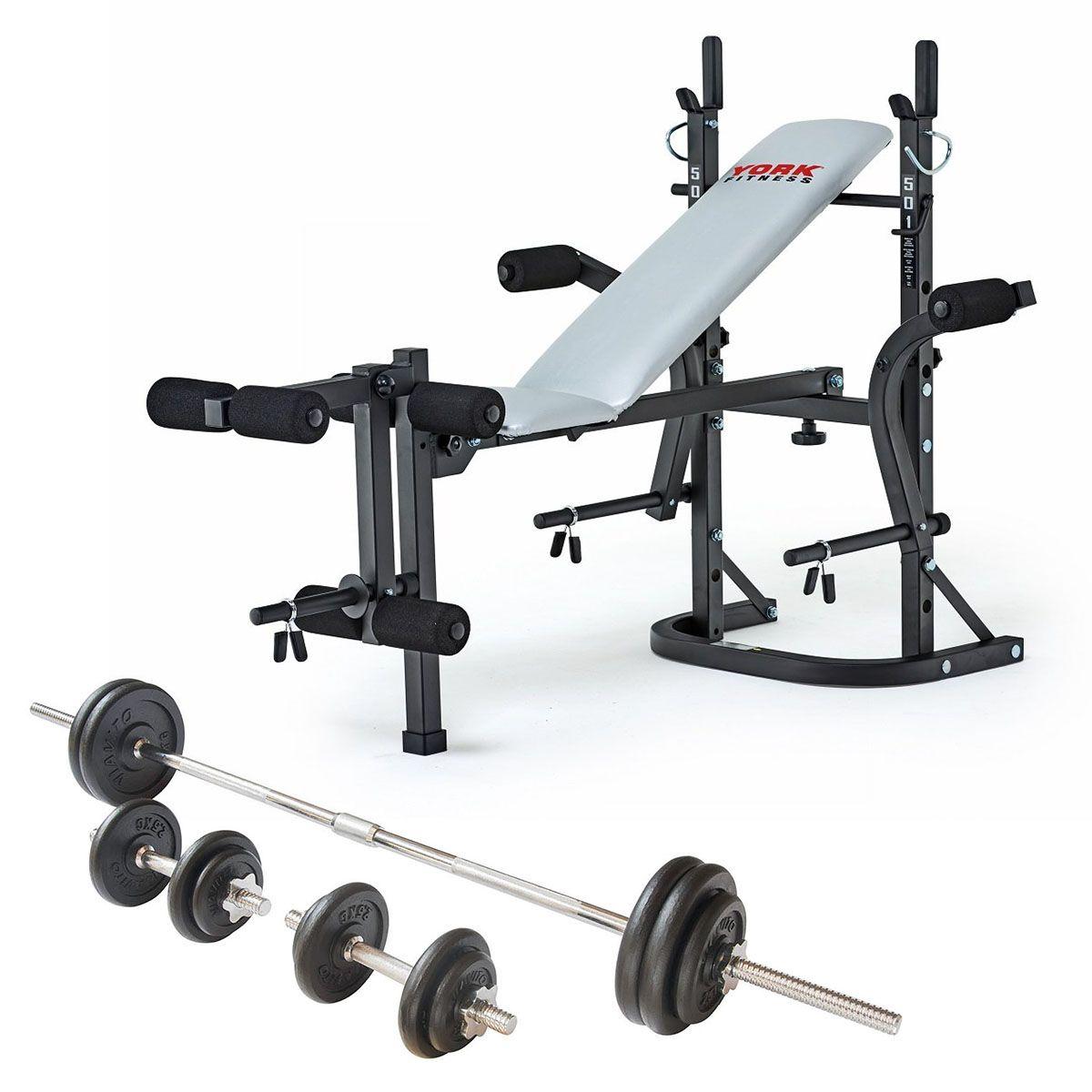York B501 Weight Bench And Viavito 50kg Cast Iron Weight Set