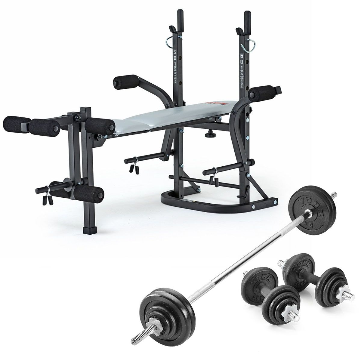 York b501 weight bench with 50kg cast iron weight set Weight set and bench