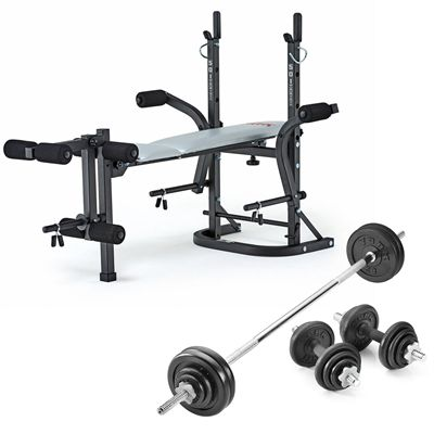 York B501 Weight Bench with 50kg Cast Iron Weight Set - Foleded
