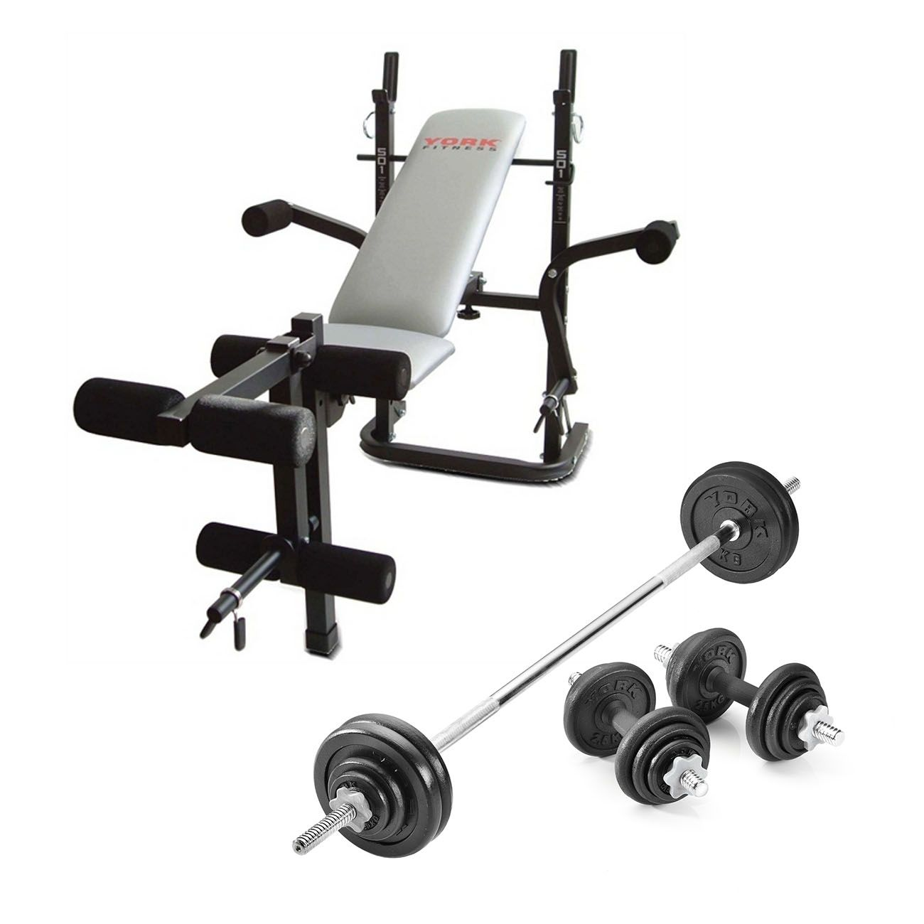 York b501 weight bench with 50kg cast iron weight set Bench and weight set