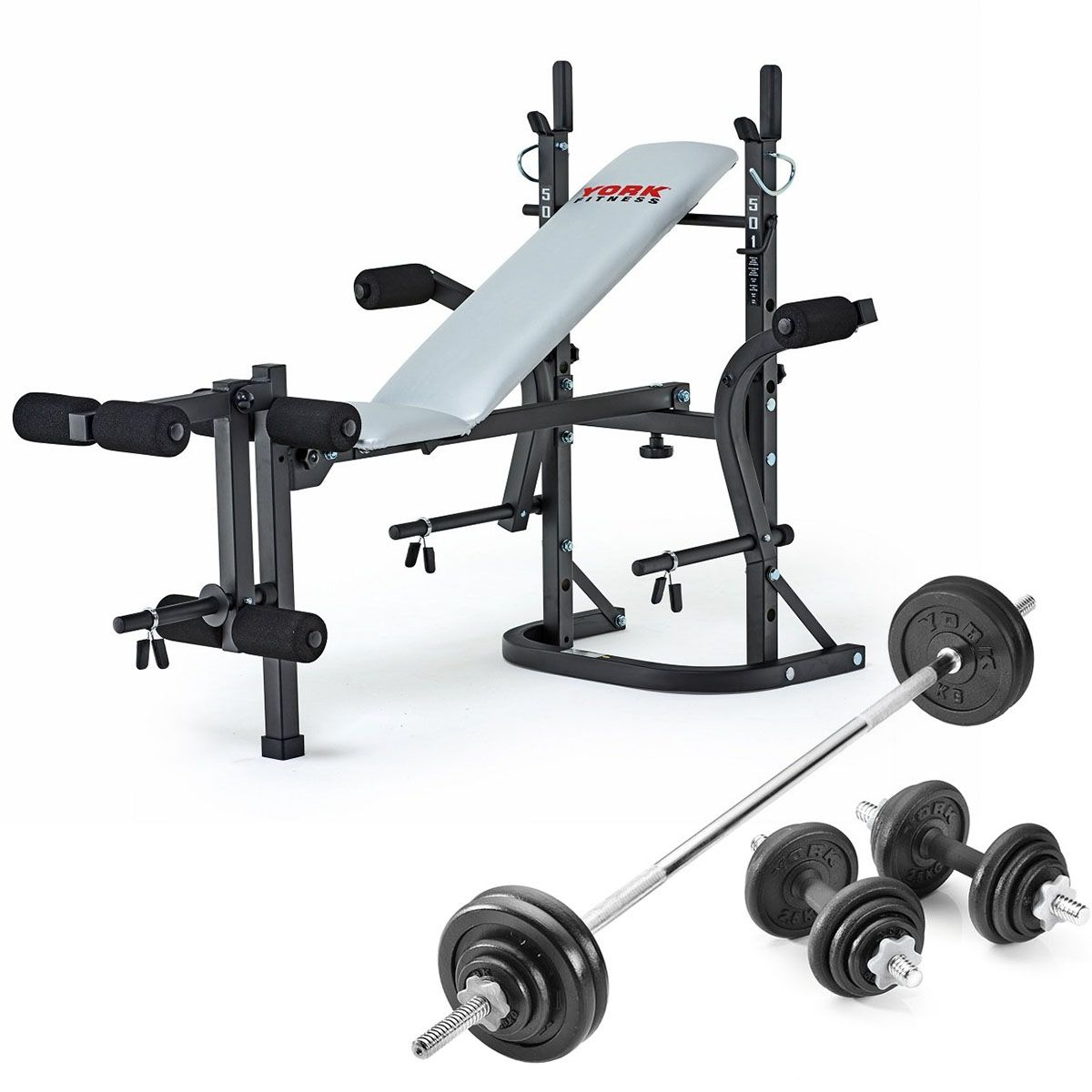 York B501 Weight Bench With 50kg Cast Iron Weight Set