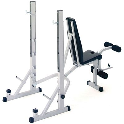 York B540 Folding Weight Bench and Viavito 50kg Cast Iron Weight Set - Back