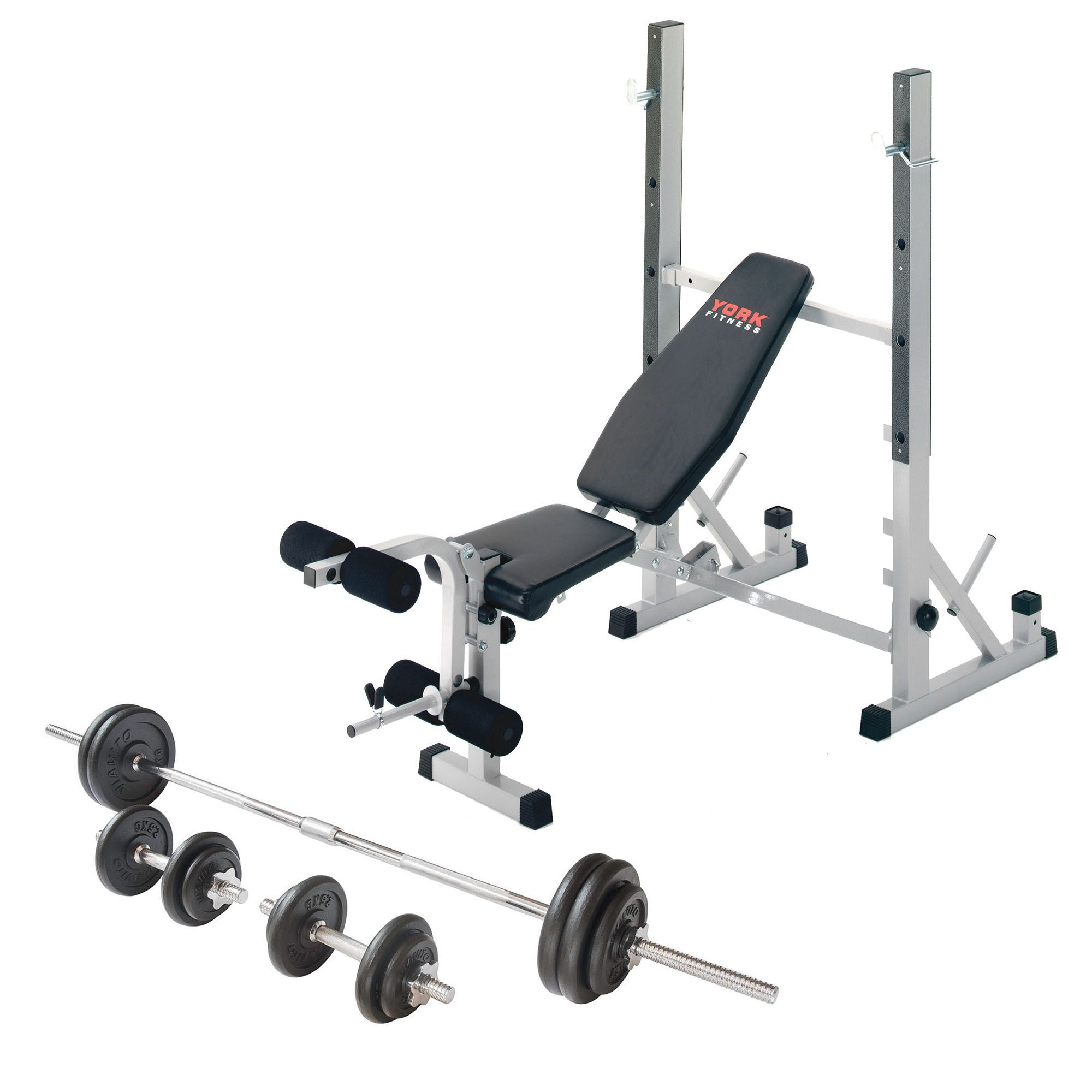 York b540 folding weight bench and viavito 50kg cast iron weight set Bench and weight set