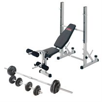 York B540 Folding Weight Bench and Viavito 50kg Cast Iron Weight Set