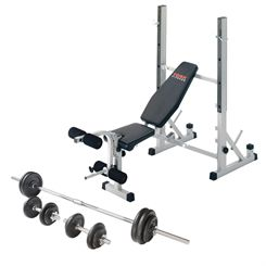York B540 Folding Weight Bench and Viavito 50kg Cast Iron Weight Set