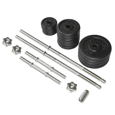 Viavito 50kg Black Cast Iron Barbell and Dumbbell Set - Parts