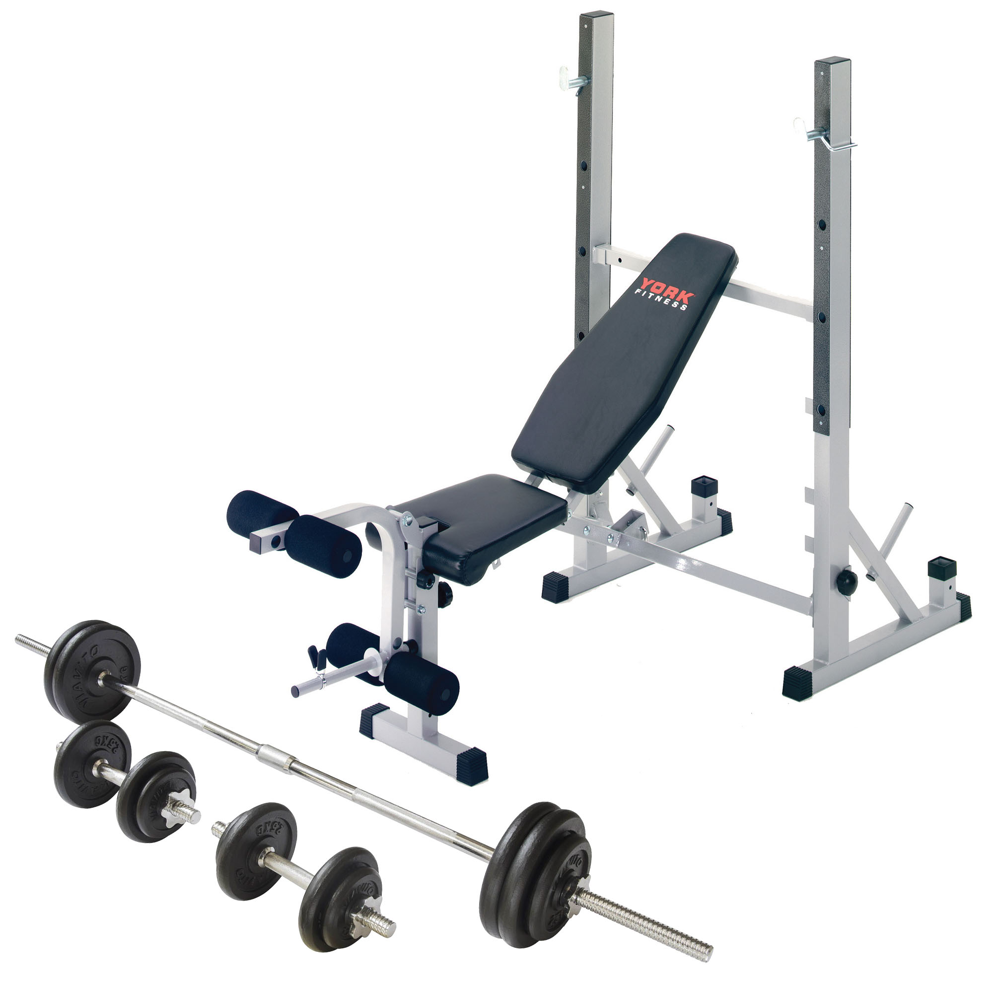 York B540 Weight Bench with 50kg Barbell Dumbbell Set