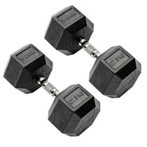 York Commercial - 2 x 27.5kg Rubber Hex Dumbbell