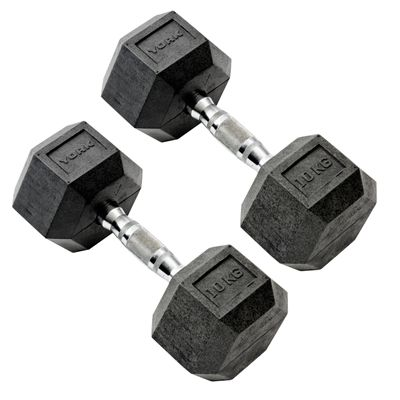 York Commercial - 2 x 10kg Rubber Hex Dumbell