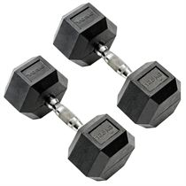 York Commercial - 2 x 12.5kg Rubber Hex Dumbbell