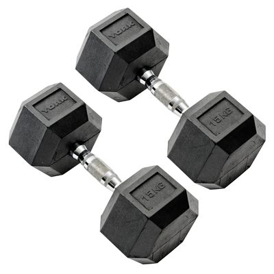 York Commercial - 2 x 15kg Rubber Hex Dumbell