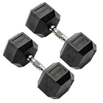 York Commercial - 2 x 17.5kg Rubber Hex Dumbbell