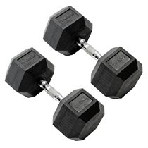 York Commercial - 2 x 22.5kg Rubber Hex Dumbbell