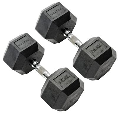 York Commercial - 2 x 25kg Rubber Hex Dumbell