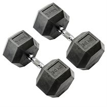 York Commercial - 2 x 30kg Rubber Hex Dumbbell