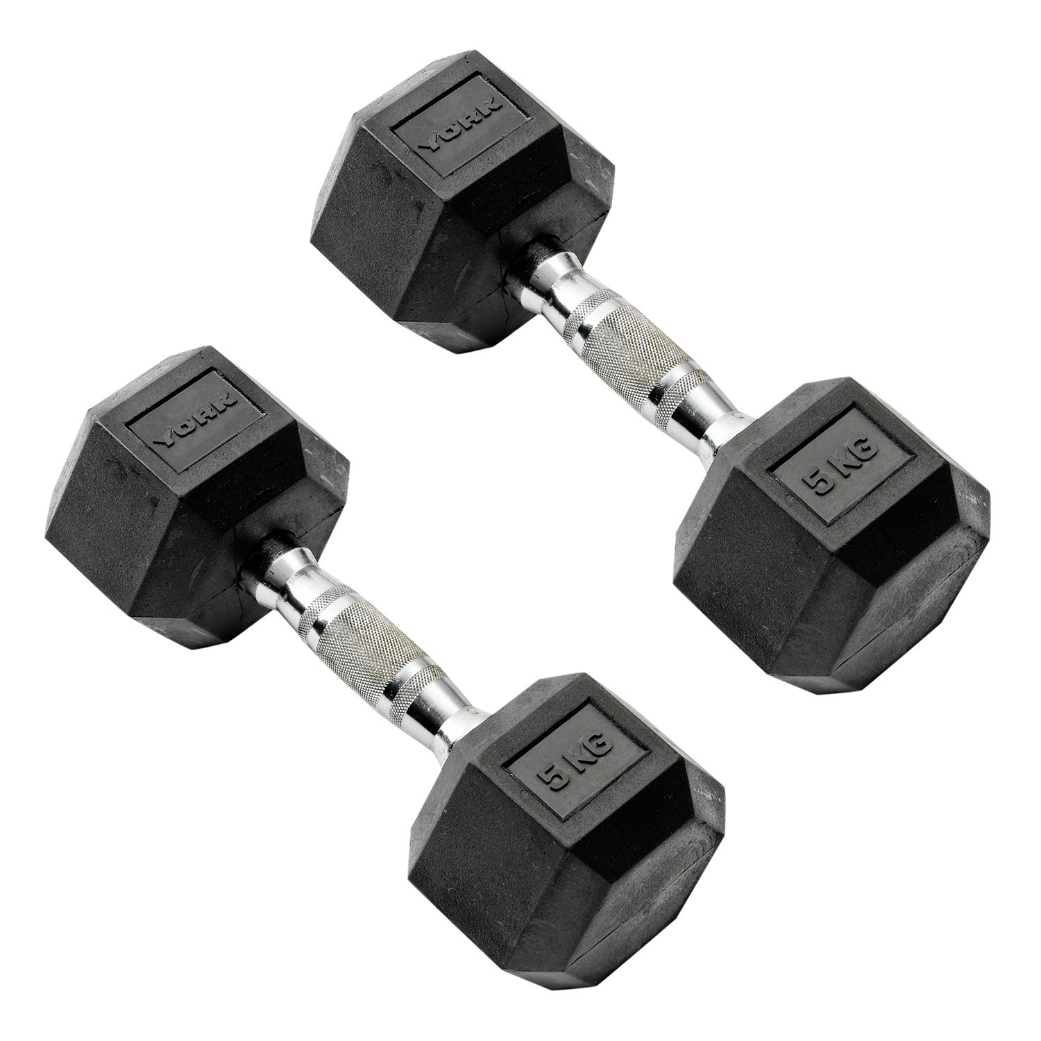 York Commercial - 2 x 5kg Rubber Hex Dumbbell