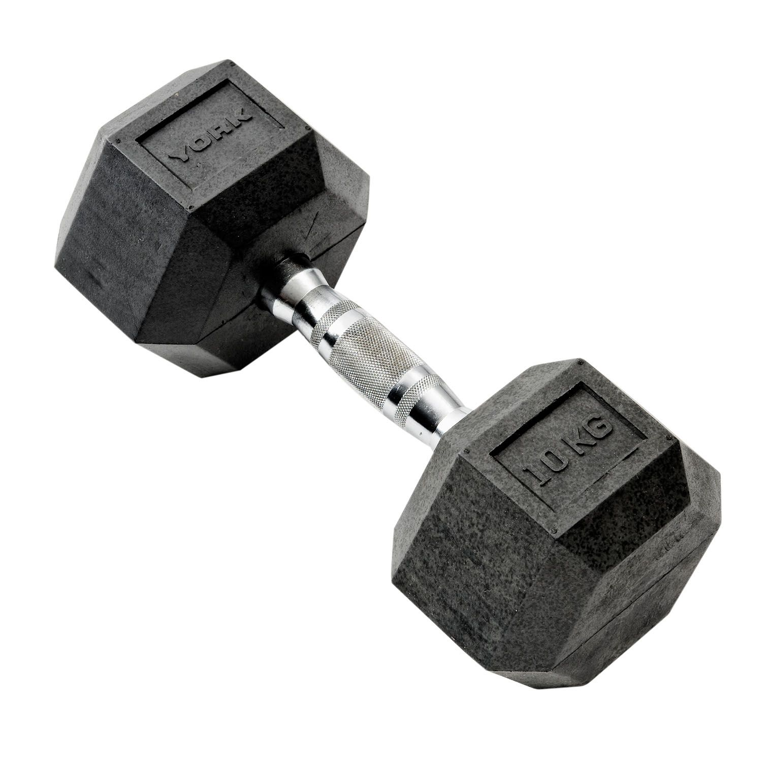 Dumbbells For Sale >> York 10kg Rubber Hex Dumbbell