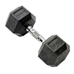 York 10kg Rubber Hex Dumbbell