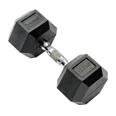 York Commercial 12.5kg Rubber Hex Dumbell