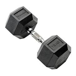 York 15kg Rubber Hex Dumbbell