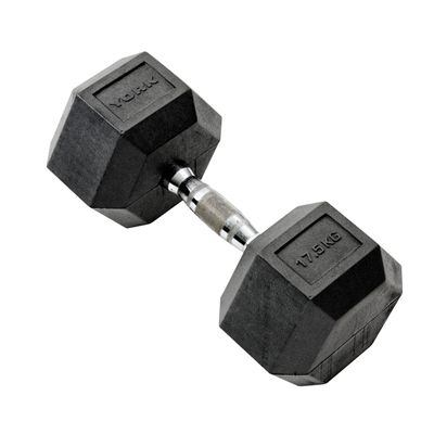 York Commercial 17.5kg Rubber Hex Dumbell