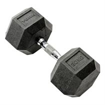 York 20kg Rubber Hex Dumbbell