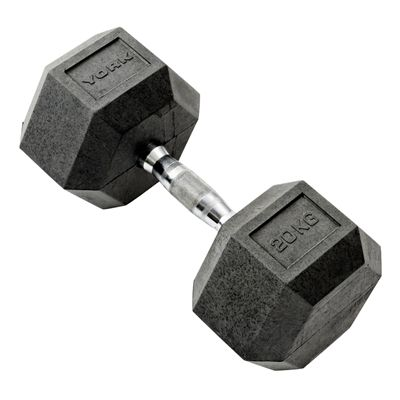 York Commercial 20kg Rubber Hex Dumbell