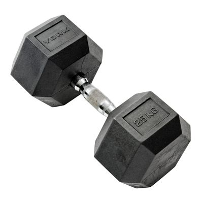 York Commercial 25kg Rubber Hex Dumbell