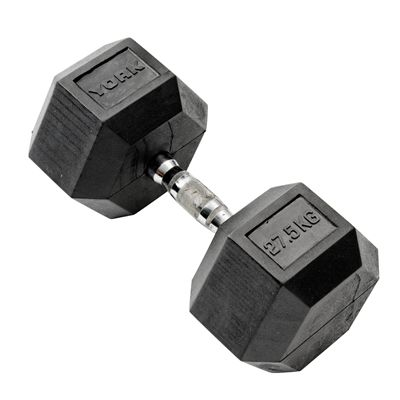 York Commercial 27.5kg Rubber Hex Dumbell