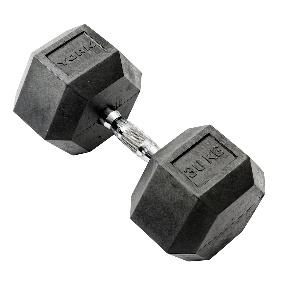 York 30kg Rubber Hex Dumbbell
