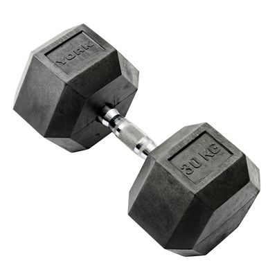 York Commercial 30kg Rubber Hex Dumbell