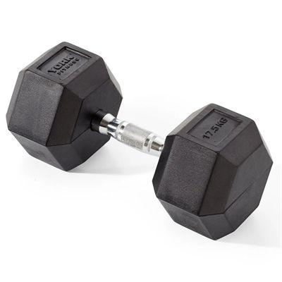 York Fitness 17.5kg Rubber Hex Dumbbell