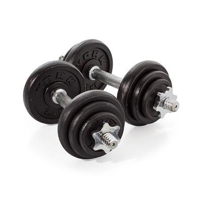 York Fitness 20kg Cast Iron Dumbell Set With Case - Dumbbells