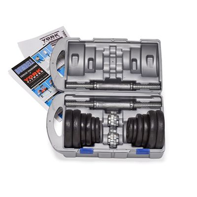 York Fitness 20kg Cast Iron Dumbell Set With Case - Open Case