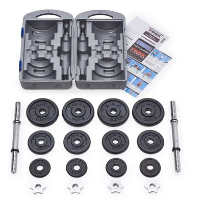 York Fitness 20kg Cast Iron Dumbell Set With Case - Parts