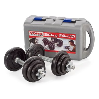 York Fitness 20kg Cast Iron Dumbell Set With Case