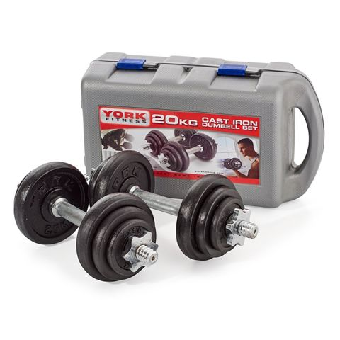 York Fitness 20kg Cast Iron Dumbbell Set With Case