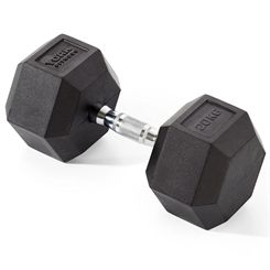 York Fitness 20kg Rubber Hex Dumbbell