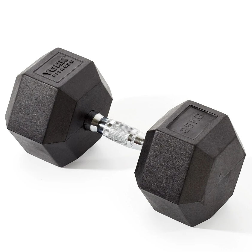 York Fitness 25kg Rubber Hex Dumbbell