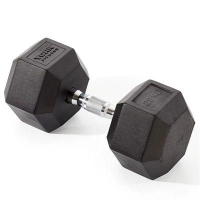 York Fitness 25kg Rubber Hex Dumbbell