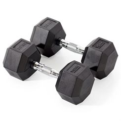 York Fitness 2 x 10kg Rubber Hex Dumbbells