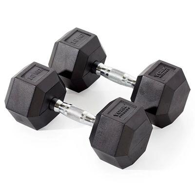 York Fitness 2 x 10kg Rubber Hex Dumbbells