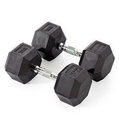 York Fitness 2 x 12.5kg Rubber Hex Dumbbells