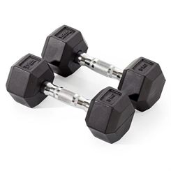York Fitness 2 x 5kg Rubber Hex Dumbbells