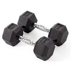 York Fitness 2 x 7.5kg Rubber Hex Dumbbells